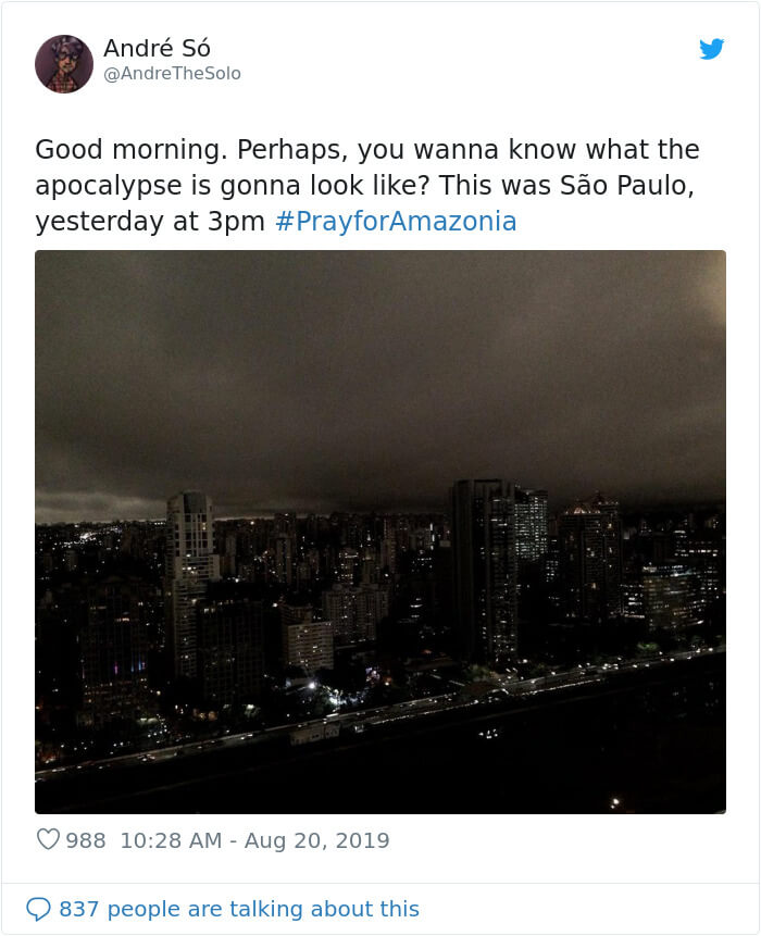 People Share Terrifying Pictures Of Sao Paulo Having Gone Pitch Black During Daytime From Amazon Fires