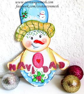 colgante-muñeco-nieve-foami