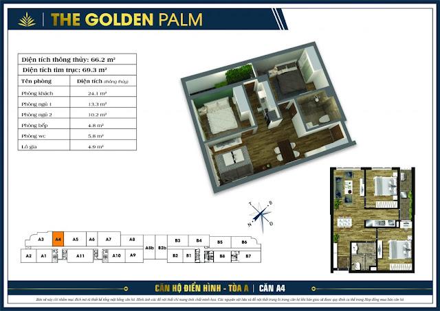 Mặt bằng căn A4 tòa A The Golden Palm