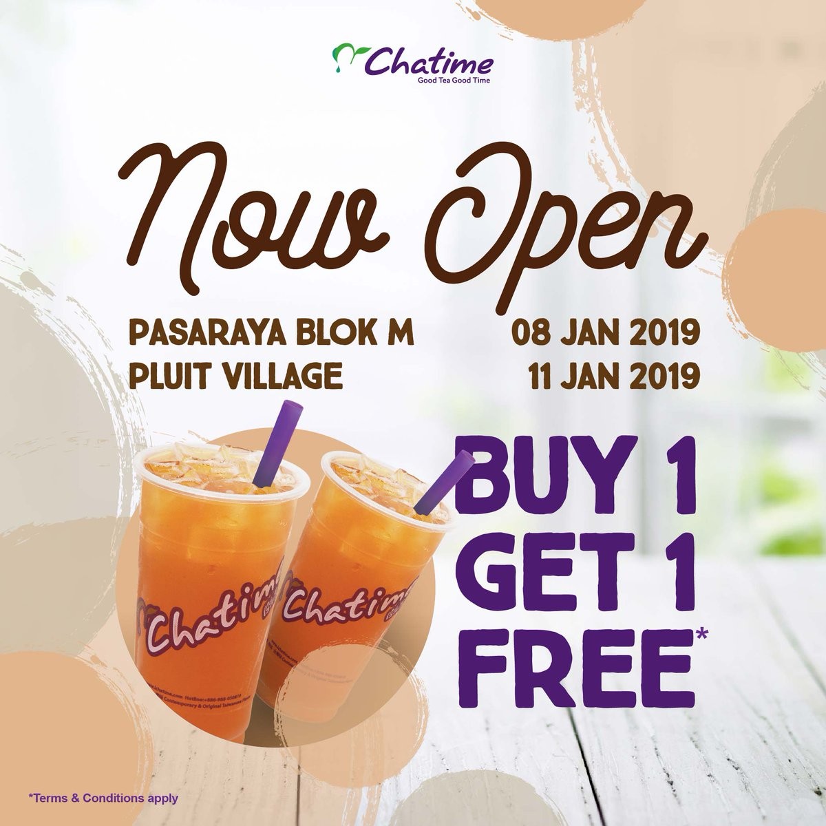 #Chatime - Promo Opening Buy 1 Get 1 Free Block M & Pluit Village (s.d 10 Januari 2019)