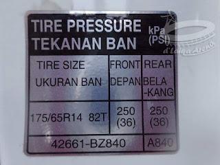 panduan besaran tekanan ban