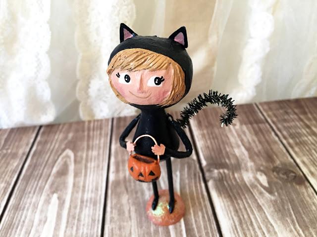 black cat halloween doll