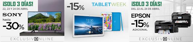 Top 10 ofertas promociones Sony hasta -30%, Tablet Week y Epson -15% adicional de El Corte Inglés