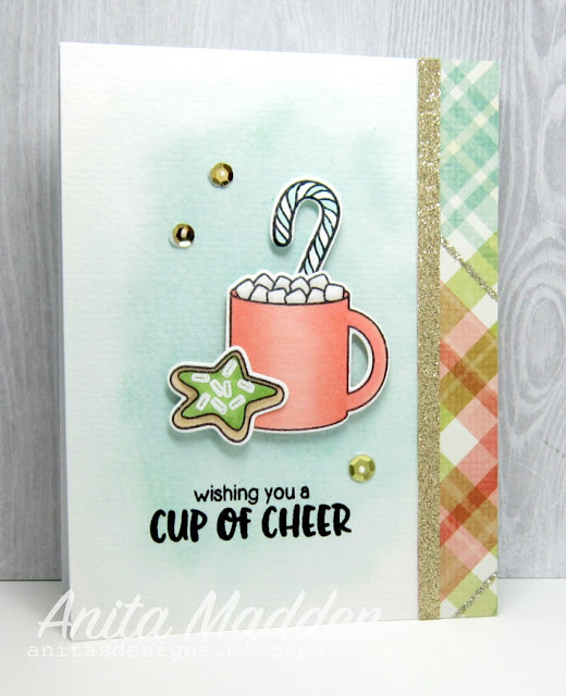Sunny Studio Stamps: Mug Hugs Cup of Cheer Hot Cocoa Card by Anita Madden.