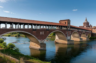 The covered bridge over the Ticino river at Pavia