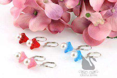 Czech Flower Blossom Pearl Drop Earrings (E175) in Blue, Pink or Red