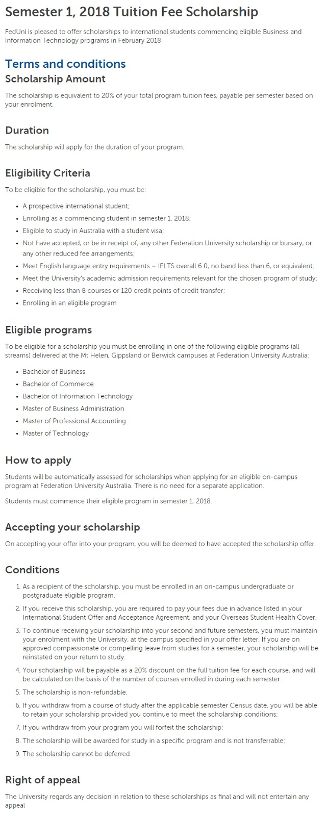 Federation University Tuition Fee Scholarships for International Students in Australia