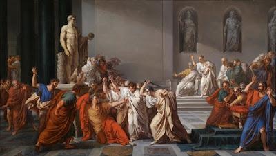 """""""O assassinato de Júlio César"""" (1804~1805), pintura de Vincenzo Camuccini (1771-1844) exposta na Galeria Nacional de Arte Moderna e Contemporânea em Roma, Itália."""
