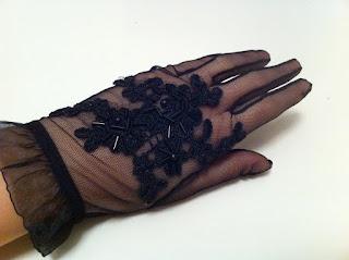 siyah tül eldiven satın al