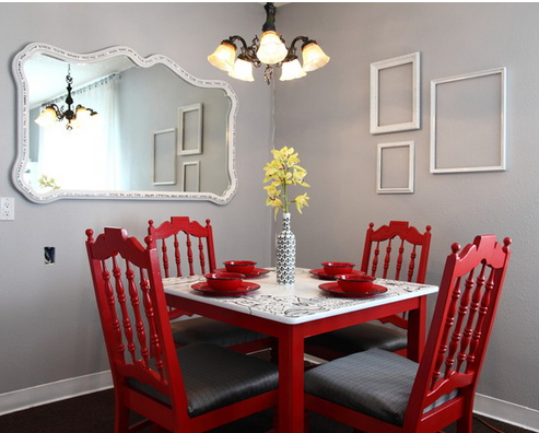 sala de jantar vermelha