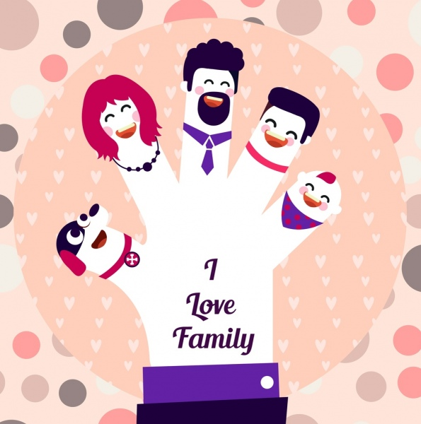 Family banner hand fingers people icons decor Free vector