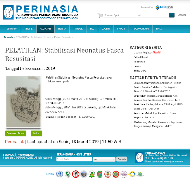 Pelatihan Stabilisasi Neonatus Pasca Resusitasi-PERINASIA (20-21 Juli 2019) Jakarta