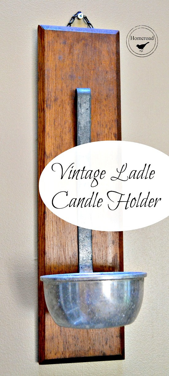 A candle holder made from a vintage ladle