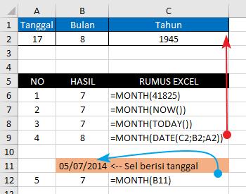 Contoh Fungsi/Rumus MONTH Excel