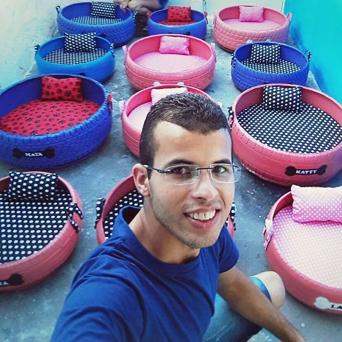 This Artist Uses Old Tires He Finds In The Streets To Create Beds For Animals