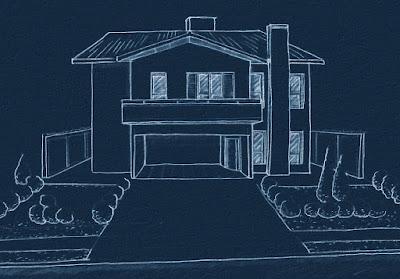 Na fase de estudos do projeto a cobertura tinha uma solução mais simples, baseada no sistema de duas águas, e a a lareira tinha um corpo saliente na fachada.