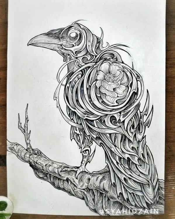 07-Raven-Animal-Drawings-Syahid Zain-www-designstack-co
