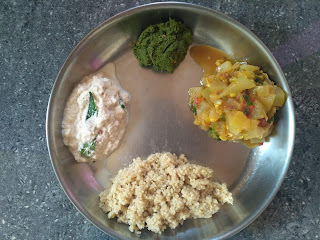 Foxtail millet (Thinai), Ash gourd sprouted green gram sambar, Coconut chutney, Mint Coriander Chutney