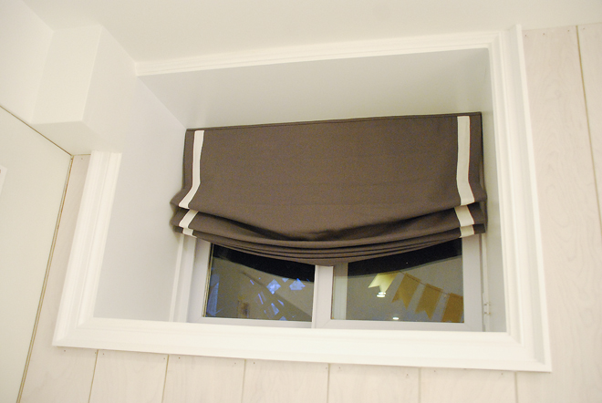 relaxed roman blind, basement window covering, roman blind with border