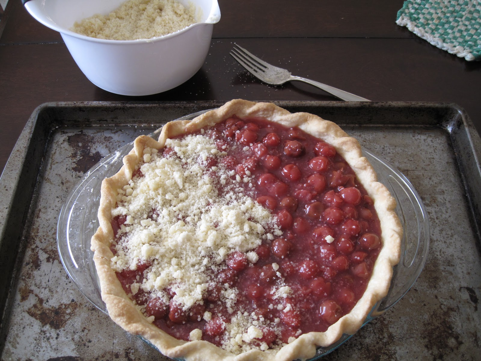 Cherry Crumb Pie | Mostly Homemade Mom |Cherry Pie With Crumb Topping