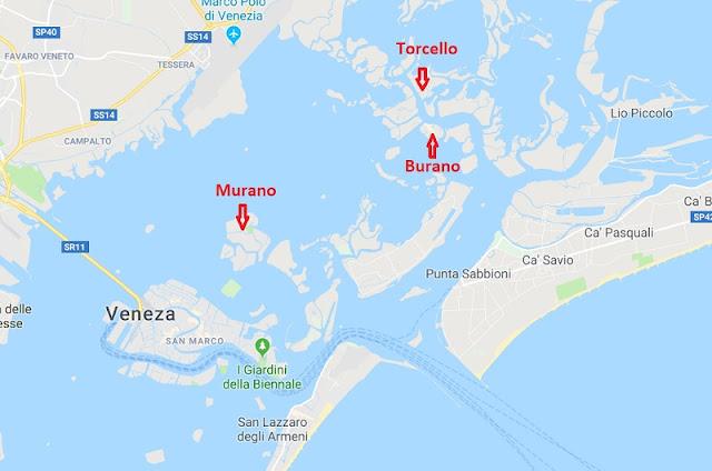 Mapa das ilhas Murano, Burano e Torcello
