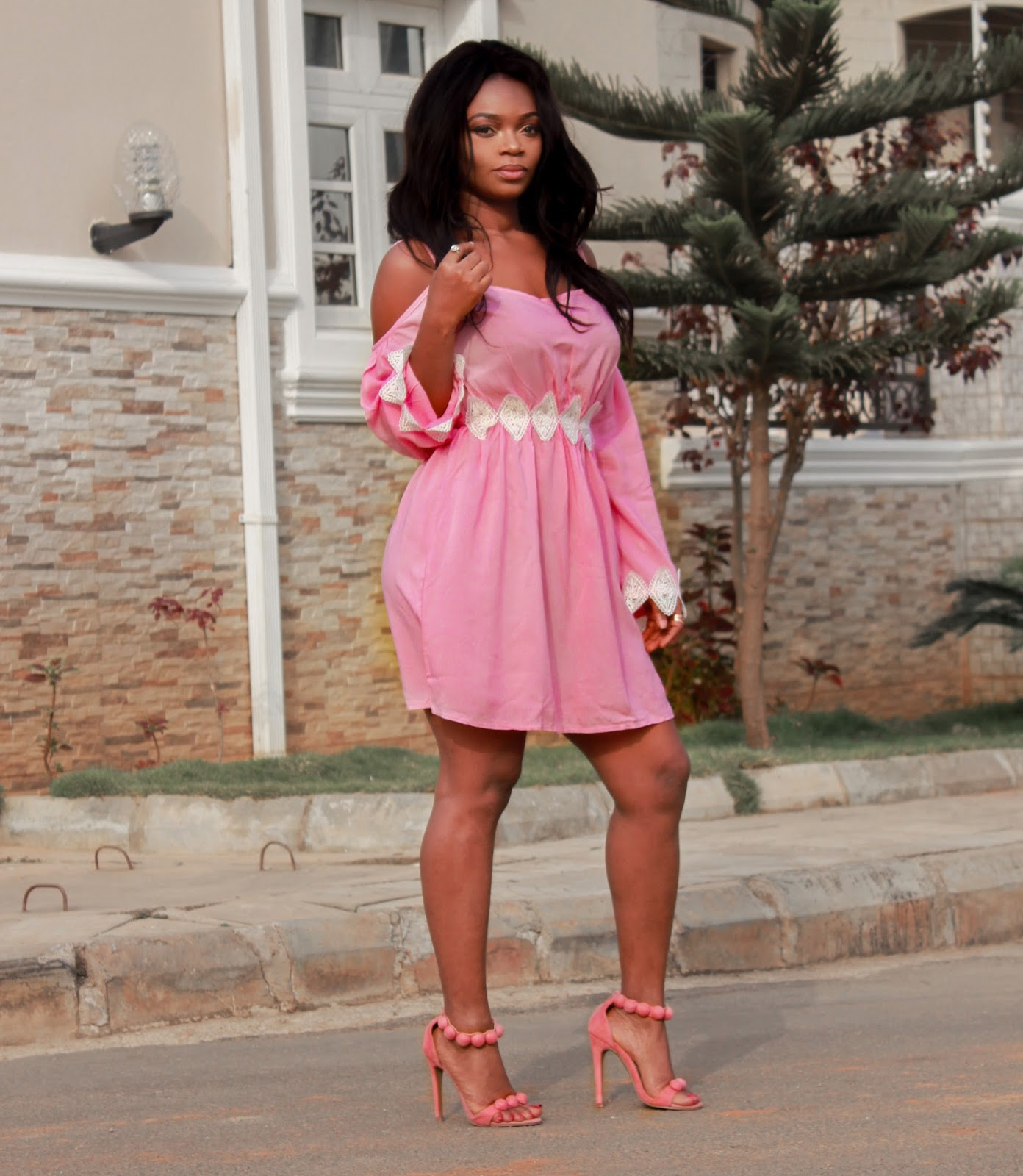 COLD SHOULDER DRESS - Pink Cold Shoulder Lace Spliced Dress from Zaful with Pink Sandals from Boohoo