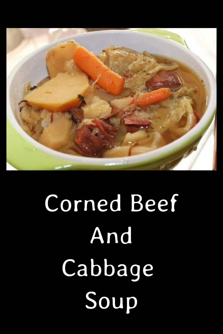 a bowl of Leftover Corned Beef and Cabbage Soup with vegetables and potatoes