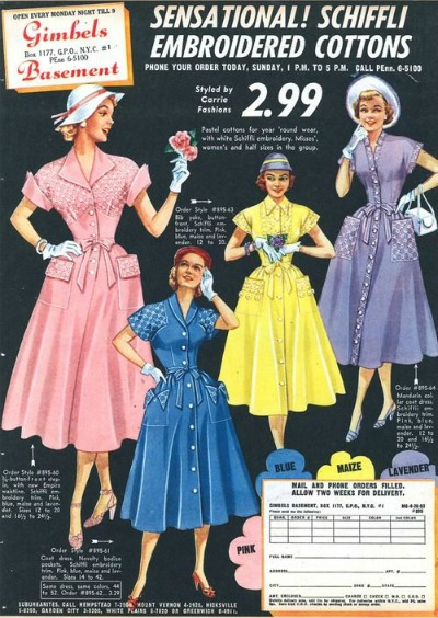 Multicolored Dresses in Gimbels 1952 Ad for Shirtwaist Dress Schifli Embroidered Cottons