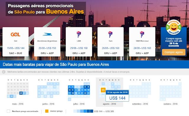 Passagens aéreas em promoção para Buenos Aires