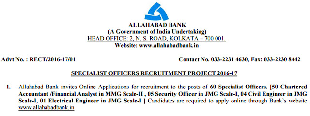 Allahabad Bank Specialist Officer Recruitment Project
