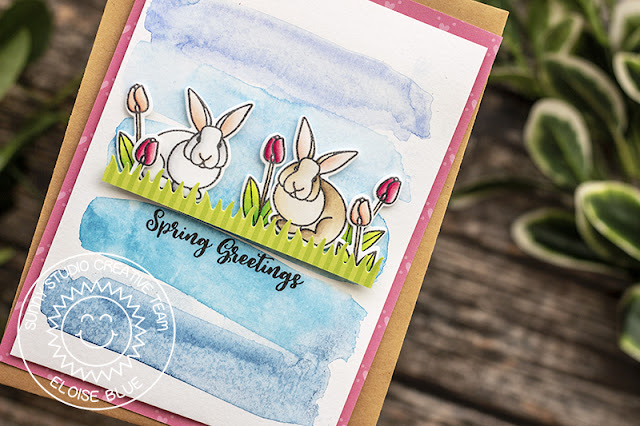 Sunny Studio Stamps: Spring Greetings Sunny Sentiments Spring Themed Card by Eloise Blue