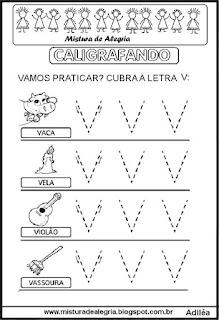 Caligrafando letra V pontilhada
