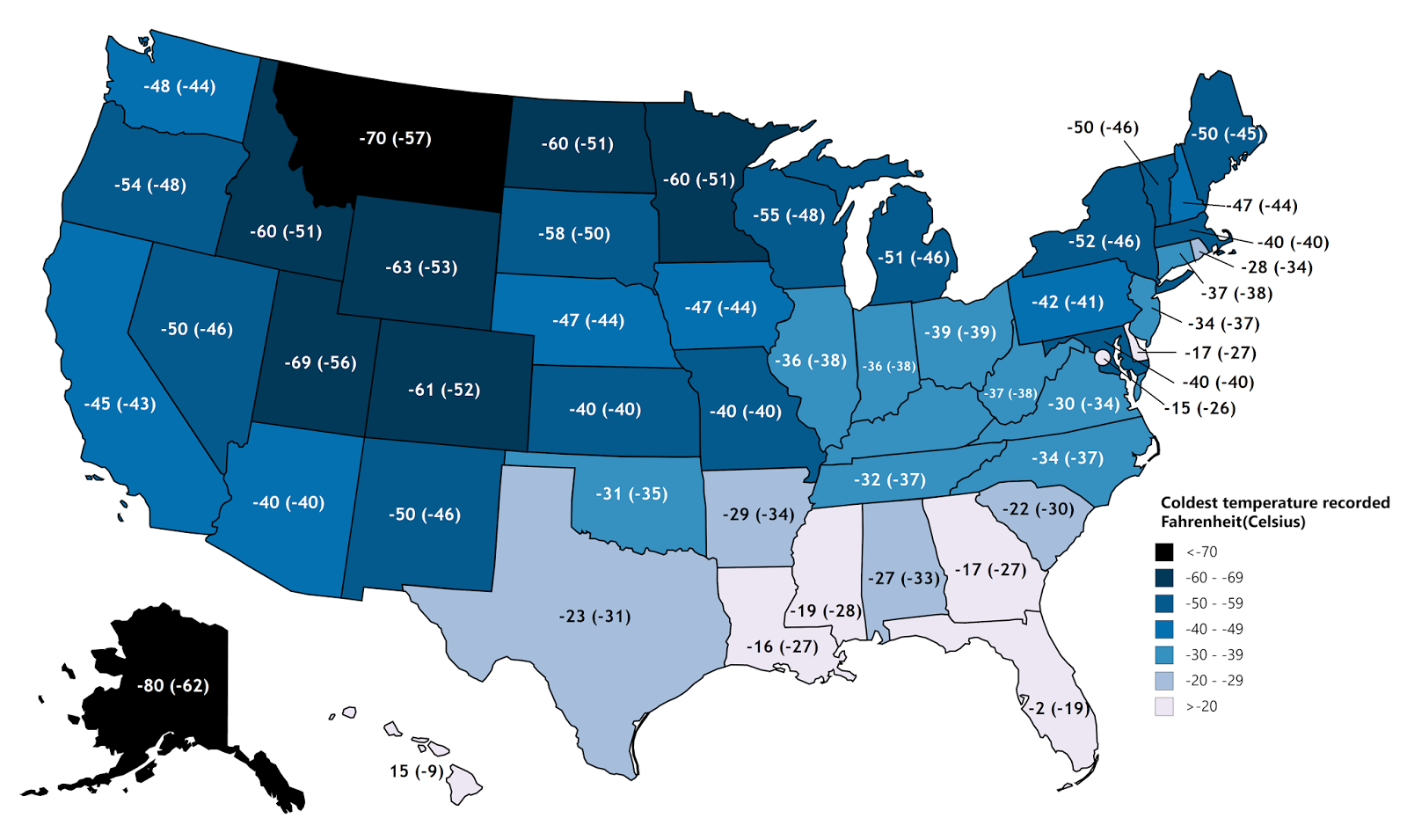 Coldest temperature ever recorded in each state in Fahrenheit & Celsius