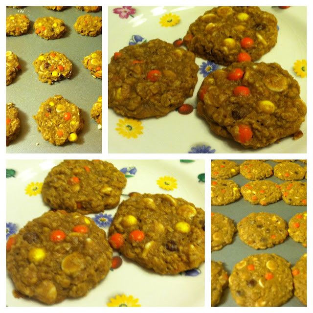White Chocolate Reese's Pieces Pumpkin Spice Oatmeal Cookies