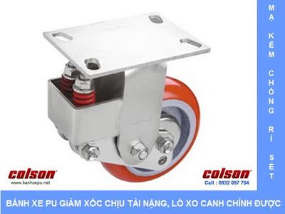 Bánh xe công nghiệp PU chống rung chịu tải (350~400kg) www.banhxepu.net