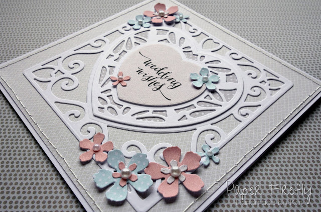 Modern elegant die cut wedding card with flower details