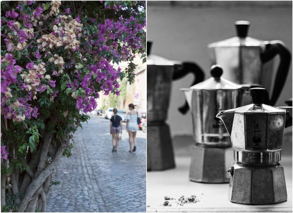 Rooma, kesä, kaupunki, valokuvaus, Visualaddict, Rome, photography, Frida Steiner, valokuvaaja, Rome, coffee, pressopannu, kukat, streetphotography