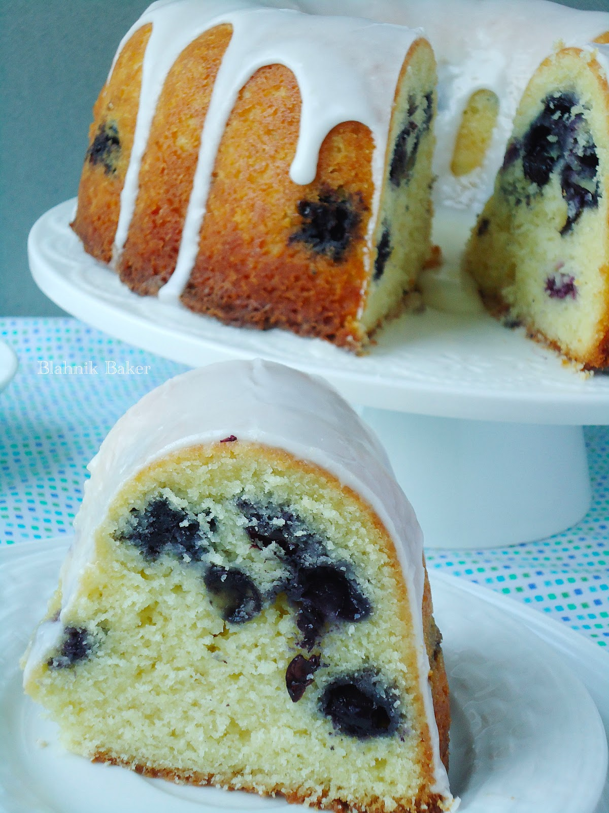 Blueberry Buttermilk Bundt Cake with Lemon Glaze| www.blahnikbaker.com