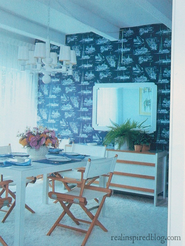 A humorous look back at decorating styles from the 1980's using Mary Gialliatt's, The Decorating Book, as the source material.  A nautical themed blue and white dining room.