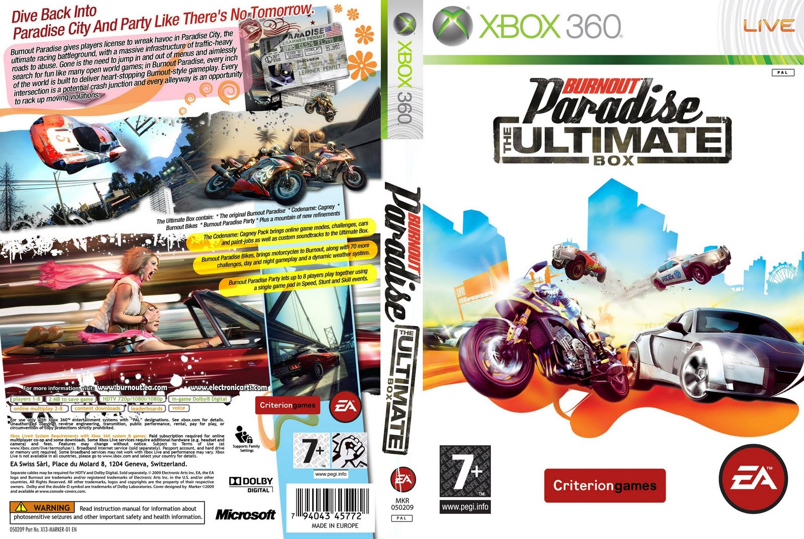 burnout paradise the ultimate box cover 2009 capa xbox 360 giga in games. Black Bedroom Furniture Sets. Home Design Ideas