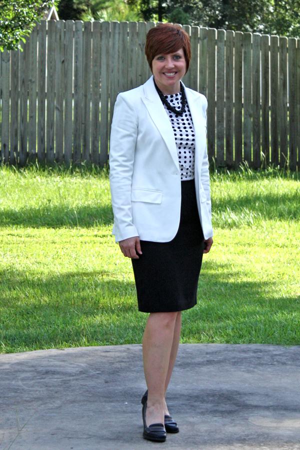 b2d905ff20eb Jacket- Ann Klein via Lord and Taylor (similar) blouse- TJMaxx (similar)  (similar) skirt- JCPenney shoes- Payless necklace- vintage- ebay Worn Aug.