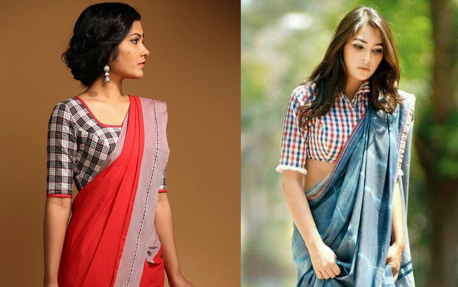 680f91818bc1a2 For work wear sarees stripes or checks are the acceptable prints which can  be paired with simple plain sarees for professional look. Checks pattern  blouses ...