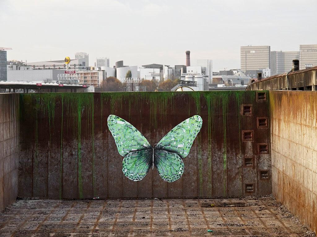 ludo e lepidoptera new street piece paris france streetartnews streetartnews. Black Bedroom Furniture Sets. Home Design Ideas