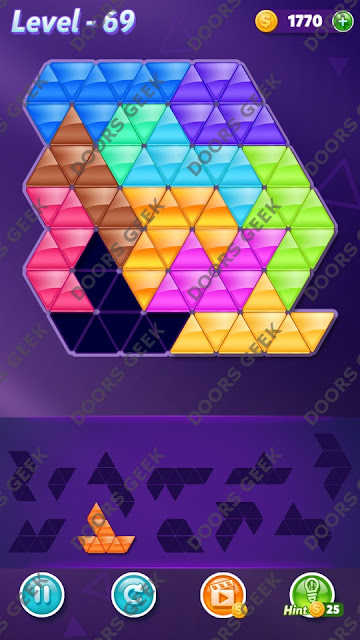 Block! Triangle Puzzle Challenger Level 69 Solution, Cheats, Walkthrough for Android, iPhone, iPad and iPod