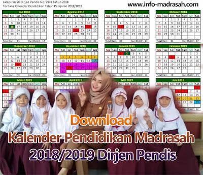 Download Kalender Pendidikan Madrasah 2018/2019 Dirjen Pendis