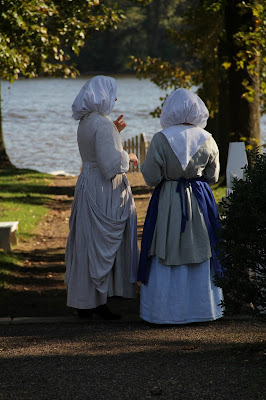 Women in 17th-century period clothing at Pennsbury Manor