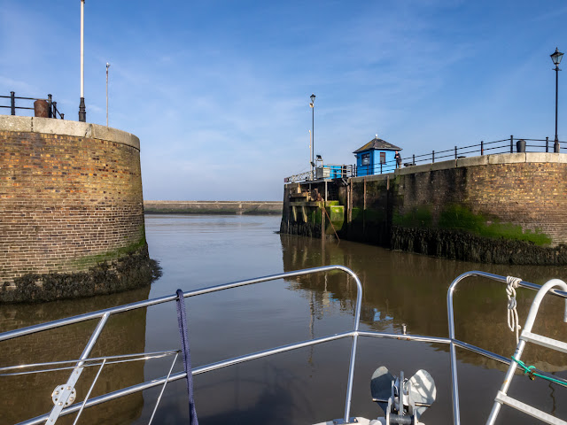 Photo of Ravensdale leaving Maryport Marina in flat calm conditions