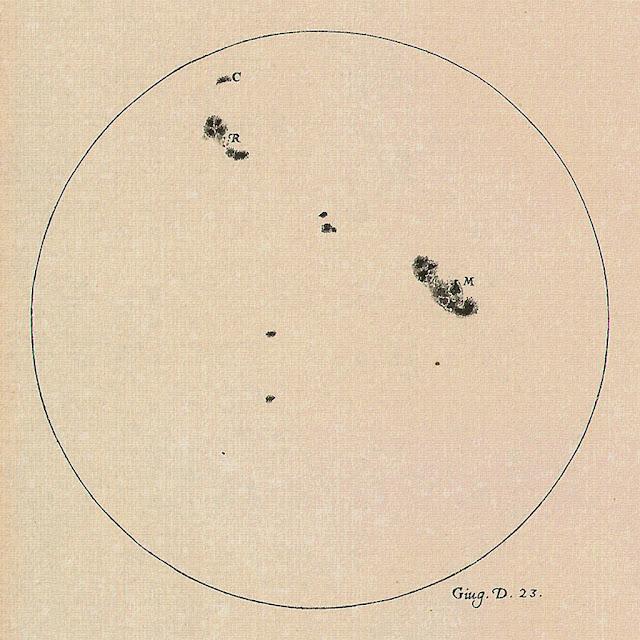 atividade solar registrada por Galileu