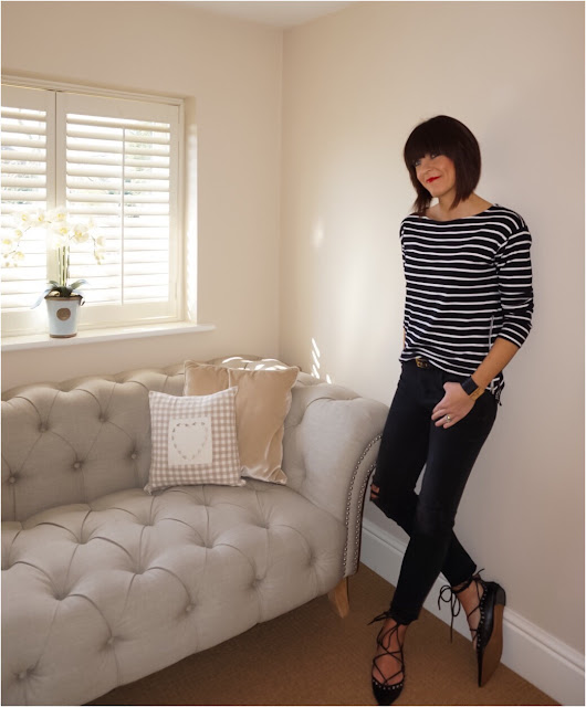 My Midlife Fashion, breton, monochrome, stripes, H and M striped t shirt, zara cropped distressed jeans, mango cuff bracelet, pointed studded ghillie shoes