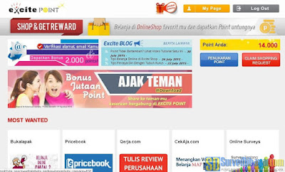 Menu pada akun Excite Point | SurveiDibayar.com
